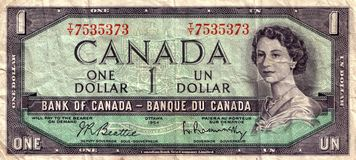 Vintage Canadian dollar royalty free stock photography