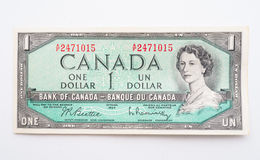 Vintage Canadian Dollar Bill Stock Photo