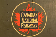 Vintage Canadian National Railways logo. A vintage and iconic Canadian National Railways logo on a train car outside Pier 21 on the Halifax waterfront Stock Photography