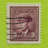 Vintage Canadian postage stamp. A vintage 1942-1943 World War II King George VI postage stamp Royalty Free Stock Photography