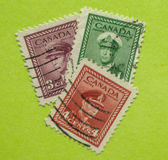 Vintage Canadian postage stamp. A vintage 1942-1943 World War II  King George VI postage stamp Stock Photo