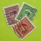 Vintage Canadian postage stamps. A vintage Canadian postage stamps Royalty Free Stock Photo