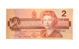 Vintage Canadian Two Dollar Bill Royalty Free Stock Image