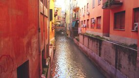 Vintage canal - emilia romagna landmarks of Bologna - Italy - the Canale di Reno or Canal of the Moline in the old town