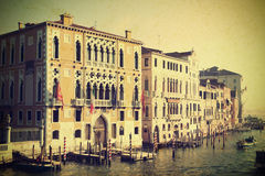 Vintage canal in Venice, Italy Stock Images