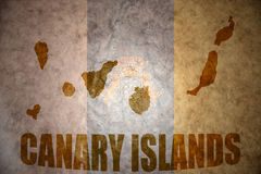 Vintage canary islands map. Canary islands map on a vintage canarian flag background stock photo