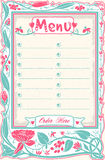 Vintage Candid Menu in Pink Stock Image
