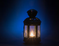 Vintage candle holder. Burning candle close up. Stock Photography