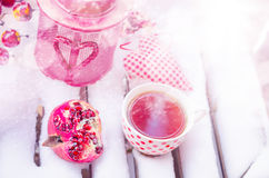 Vintage Candle Lamp with Heart, Hot Cup of Tea on the Snow Royalty Free Stock Photos
