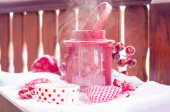 Vintage Candle Lamp with Heart, Hot Cup of Tea on the Snow Royalty Free Stock Images