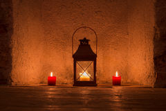 Vintage candlelit in metal lantern Royalty Free Stock Photo