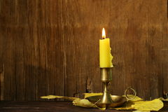 Vintage candlestick with candle Royalty Free Stock Photo