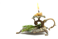 Vintage candlestick with Christmas fir branch Stock Photo