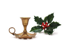 Vintage candlestick with holly berry Stock Photo