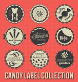 Vintage Candy Labels and Icons. Collection of retro style candy badges and stickers logo style Royalty Free Stock Image
