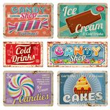 Vintage candy shop metal signs with rusty texture. Vector set Stock Photography