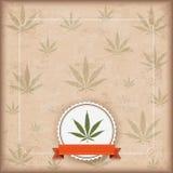Vintage Cannabis Sativa Emblem Flyer Royalty Free Stock Photos