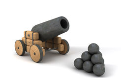 Vintage cannon. A vintage cannon. 3d render Royalty Free Stock Photography