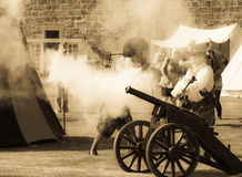 Vintage cannon battle reenactment Royalty Free Stock Photo