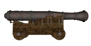 Vintage cannon - 3D render Royalty Free Stock Image