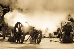 Vintage cannon fire Stock Photos