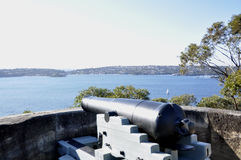 Vintage Cannon looking over Sydney Harbour Stock Photography