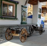 Vintage cannons on the gun carriage