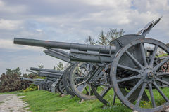 Vintage Cannons in a row. Inside Belgrade fortress, Serbia Stock Images