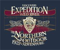 Vintage canoe wild river expedition adventure Stock Image
