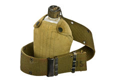 Vintage Canteen and Cover with a Cartridge belt Stock Photos