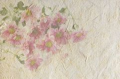 Vintage canvas background. With flowers on recycled paper Royalty Free Stock Image