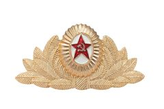 Vintage cap badge for the Soviet Army Stock Photography