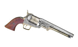 Vintage cap and ball revolver isolated. Royalty Free Stock Photography