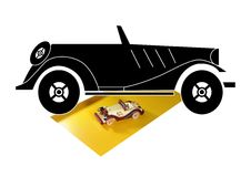 Vintage car. Drawing and its miniature Stock Images