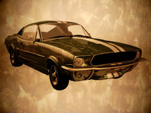 Vintage car. Front view of a 1967 Ford Mustang on a grunge background Stock Photos