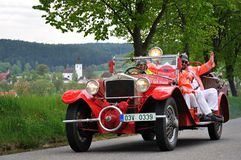 Vintage car. KRIVONOSKA - MAY 8: 1928 TATRA 17/31 on Car Competition during 40th Czech Veteran Rallye. May 8, 2010 in Krivonoska, Czech Republic royalty free stock image