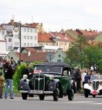 Vintage car. KRIVONOSKA - MAY 8: 1937 ADLER TRUMPF on Car Competition during 40th Czech Veteran Rallye. May 8, 2010 in Krivonoska, Czech Republic stock photo