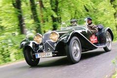 Vintage car. GAMLITZ-APRIL 30:Jaguar SS 100 from 1936 on rally vintage cars Suedsteiermark ClassicApril 30,2011 in Gamlitz,Austria Stock Photos