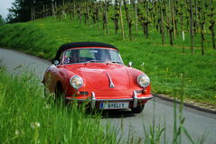 Vintage car. GAMLITZ, AUSTRIA - APRIL 30: An unidentified driver in a 1965 Porsche 356 SC Cabrio participates in a rally for vintage cars Suedsteiermark Classic Stock Photos