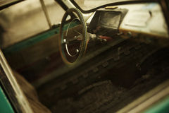 Vintage car. View of the interior of an old vehicle, made with tilt-shift lens royalty free stock photography