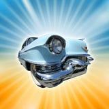 Vintage car. Vintage american car from 1950s on retro burst background royalty free illustration