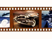 vintage car on 35mm color film fragment Stock Image