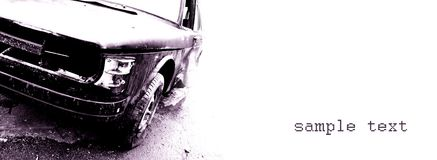 Vintage car. Grunge automobile, old, wrecked vehicle Royalty Free Stock Photos