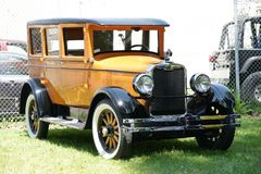 Vintage Car. Picture of the vintage orange car in show stock images