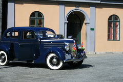 Vintage car. A vintage blue car in Norway Royalty Free Stock Images