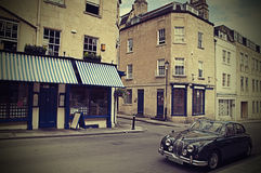 Vintage Car And Restaurant Royalty Free Stock Images
