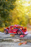 Vintage Car With Autumn Leaves royalty free stock photo