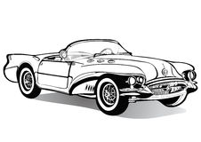 Vintage car cabriolet roofless, sketch, coloring book, black and white drawing, monochrome. Retro cartoon transport. Vector isolat Stock Photography