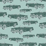 Vintage car cabriolet seamless pattern, retro cartoon background, monochrome. For the design of wallpaper, wrapper, fabric. Vector Stock Photos