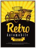 Vintage car cabriolet. Vector banner with a vintage car cabriolet Royalty Free Stock Photos